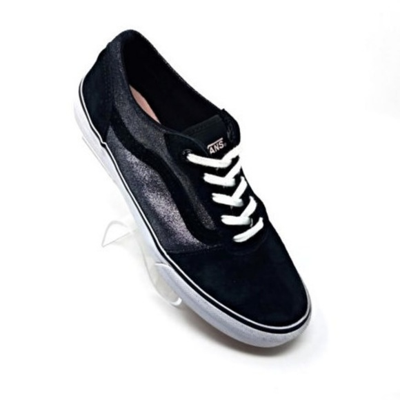 7eb797879fdf9f Vans Off The Wall Black Suede Silver Sparkle Lace.  M 5b2074a0e944bac69490b56b